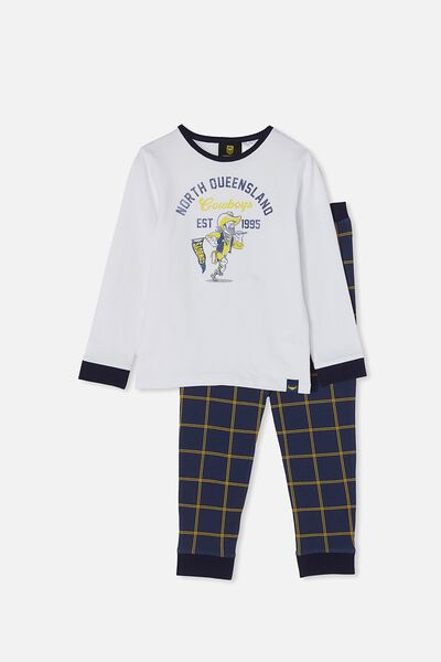 Nrl Kids Mascot Ls Pyjama Set, COWBOYS