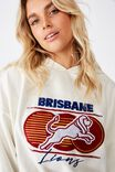 Afl Ladies Oversized Chopped Gathered Hoody, BRISBANE