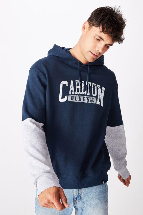 Afl Mens Panel Hoodie, CARLTON