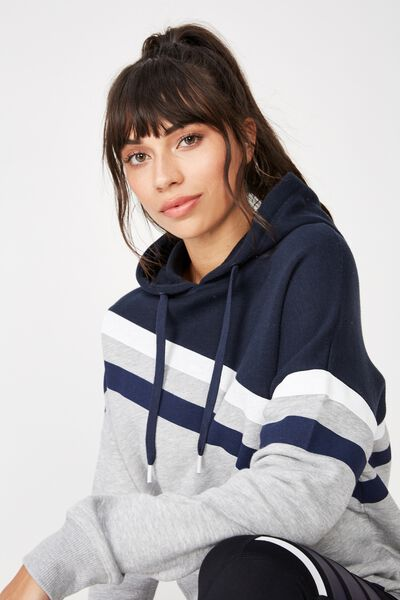 Afl Ladies Stripe Fleece Hoody, CARLTON