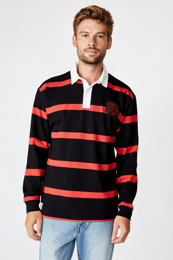 Afl Unisex Old School Rugby Polo, ESSENDON