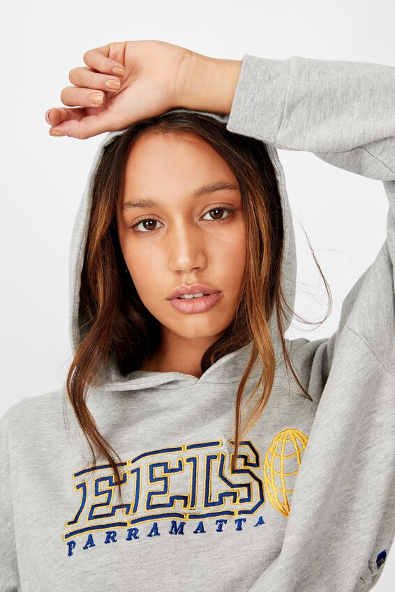 Nrl Ladies Oversized Chopped Gathered Hoody, EELS