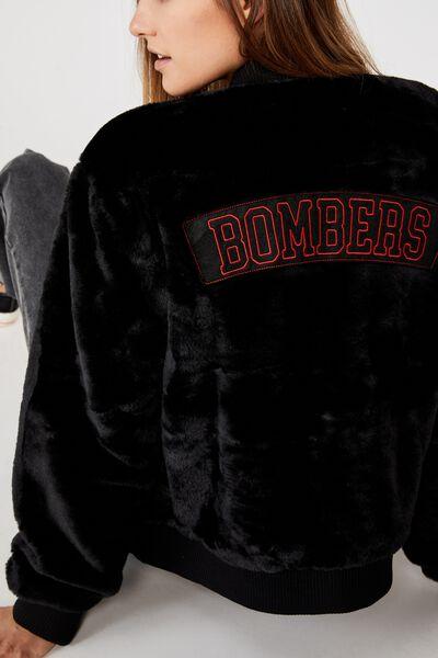 Afl Womens Fur Bomber Jacket, ESSENDON