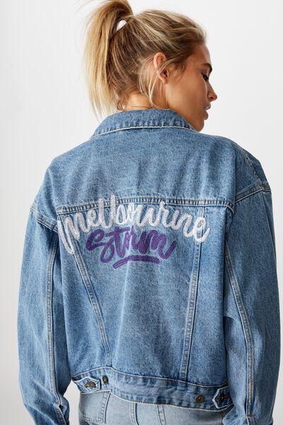 Nrl Womens Cropped Denim Jacket, STORM