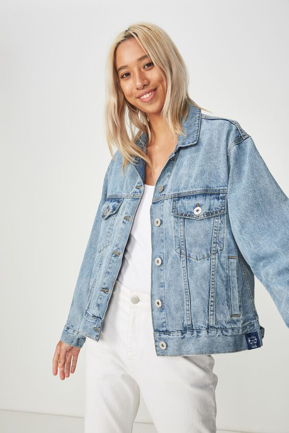 GEELONG AFL boyfriend denim jacket, GEELONG