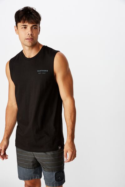 Nrl Mens Text Muscle Tank, PANTHERS