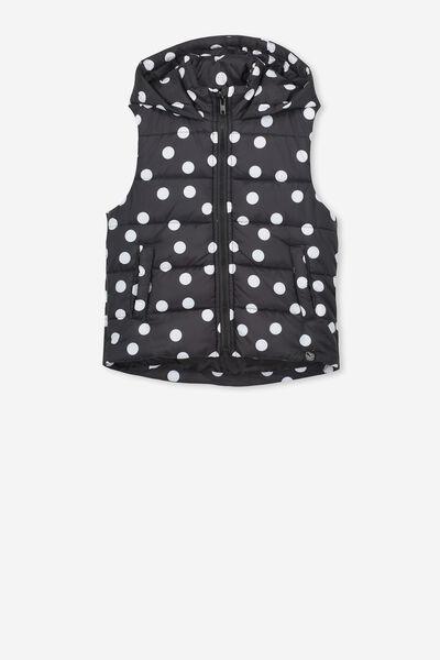 Afl Girls Puffer Vest, COLLINGWOOD