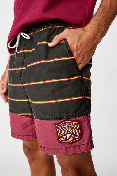 Nrl Mens Stripe Board Short, BRONCOS