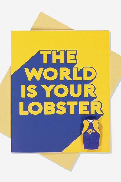 Afl Greeting Card - Lobster (Pin), WEST COAST EAGLES