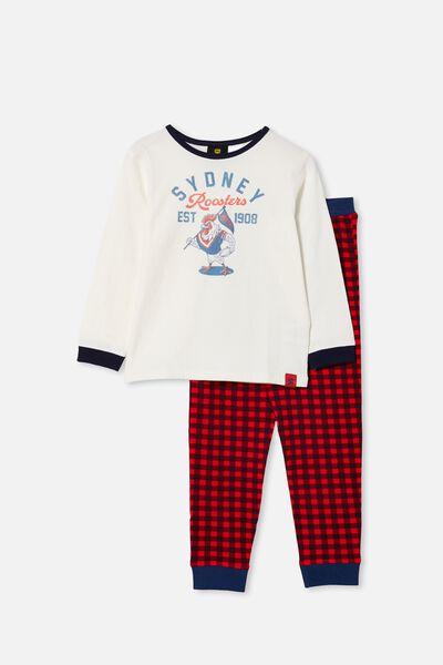 Nrl Kids Mascot Ls Pyjama Set, ROOSTERS