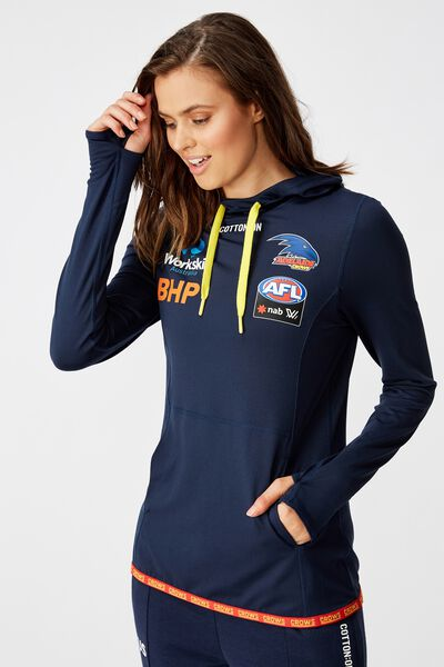 Aflw 2020 Ls Hooded Performance Top - Womens, ADELAIDE