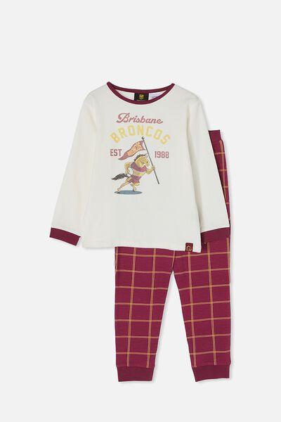 Nrl Kids Mascot Ls Pyjama Set, BRONCOS