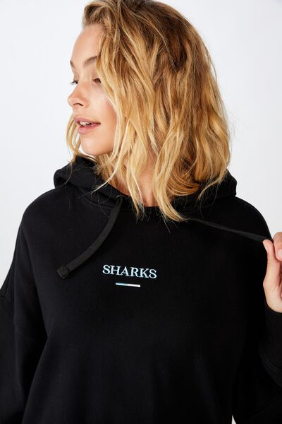 Nrl Womens Embroidered Hoodie, SHARKS