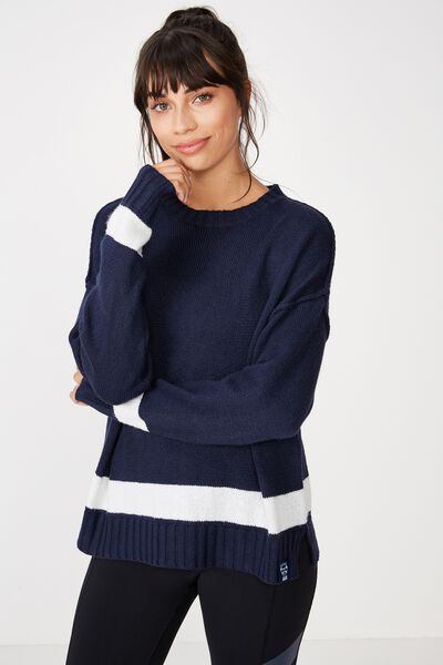 Afl Ladies Knitted Chopped Pullover, GEELONG