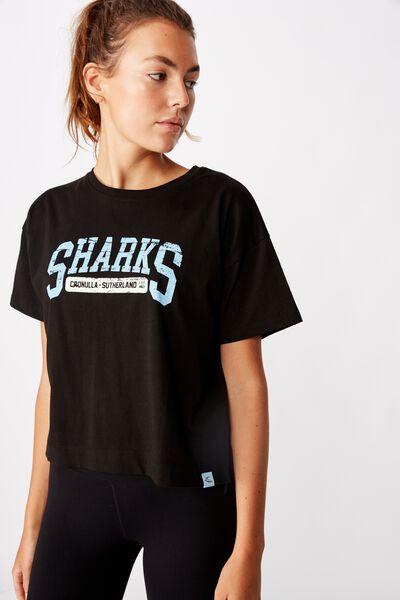 Nrl Womens Cropped T-Shirt, SHARKS