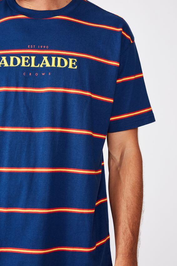 Afl Mens Stripe Logo T-Shirt, ADELAIDE