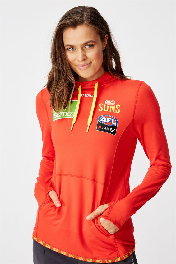 Aflw 2020 Ls Hooded Performance Top - Womens, GOLD COAST SUNS
