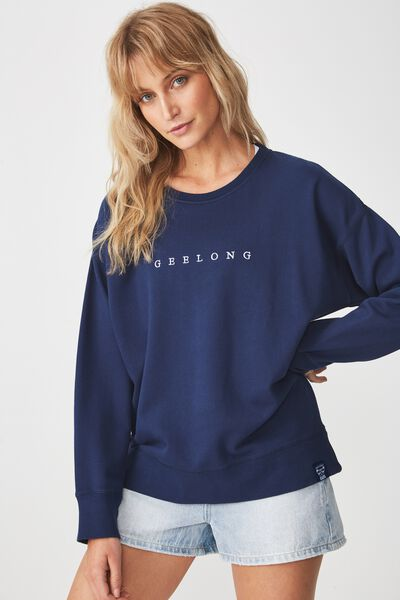 Afl Crew Long Sleeve Sweat, GEELONG