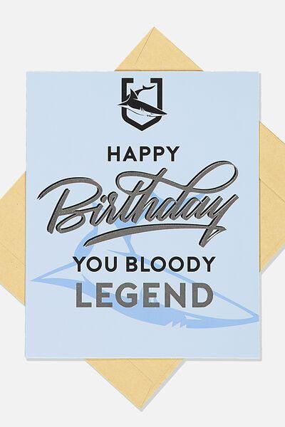 Nrl Legend Greeting Card, SHARKS