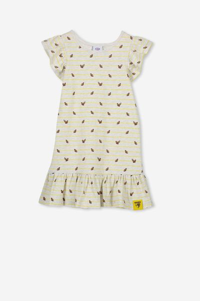 Afl Girls Frill Dress, HAWTHORN