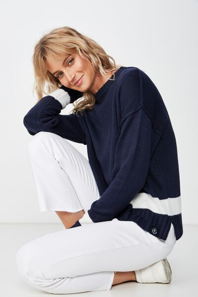 Afl Ladies Knitted Chopped Pullover, CARLTON