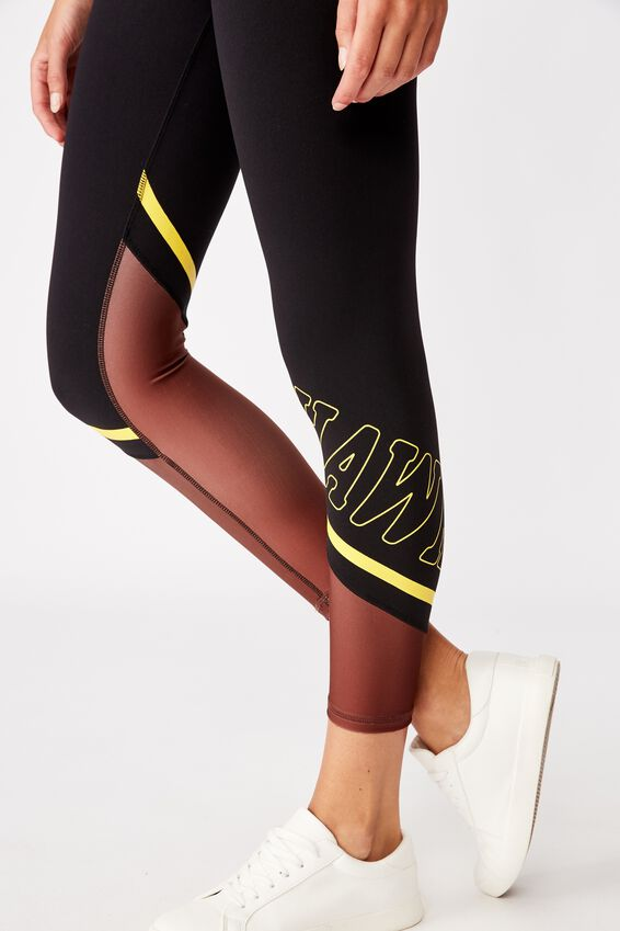Afl Womens Contrast Panel Leggings, HAWTHORN