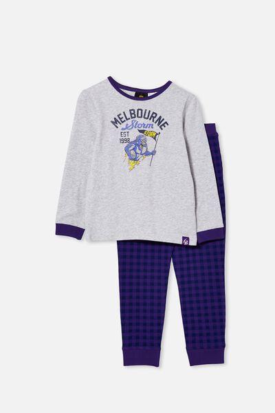 Nrl Kids Mascot Ls Pyjama Set, STORM