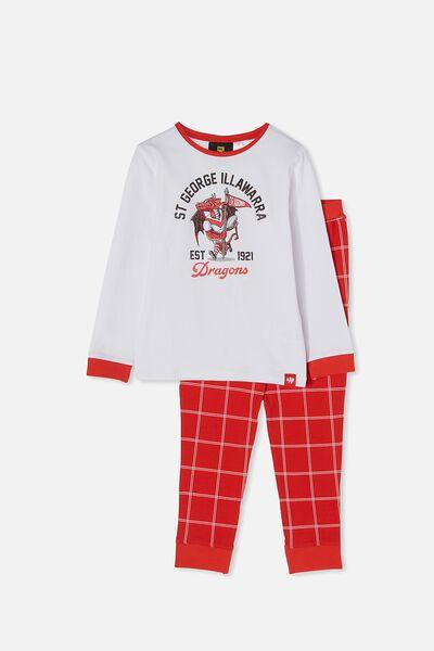 Nrl Kids Mascot Ls Pyjama Set, DRAGONS