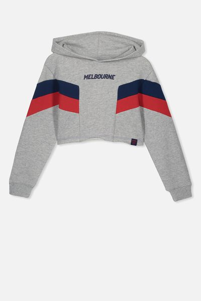 Afl Girls Retro Panel Chopped Hoody, MELBOURNE