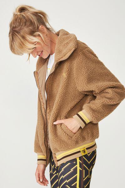 Afl Ladies Teddy Bomber Jacket, HAWTHORN