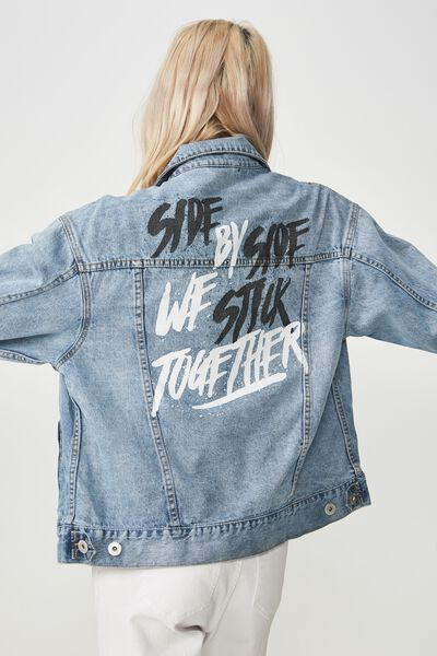 Afl Boyfriend Denim Jacket, COLLINGWOOD