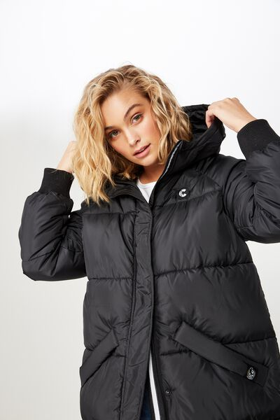 Afl Ladies Long Line Puffer Jacket, COLLINGWOOD