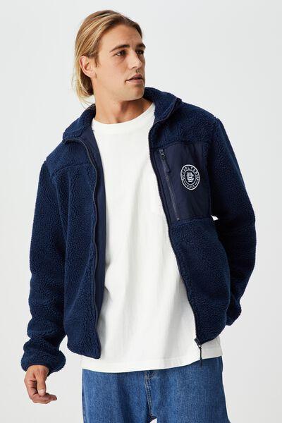 Afl Mens Teddy Bomber Jacket, CARLTON