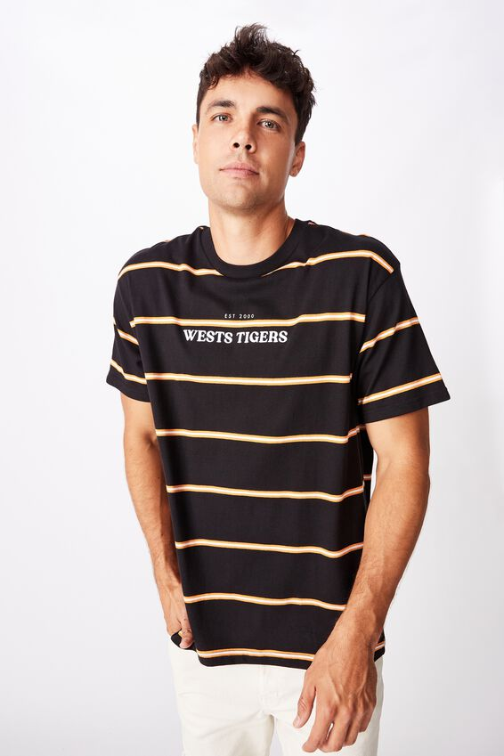 Nrl Mens Stripe Logo T-Shirt, WESTS TIGERS