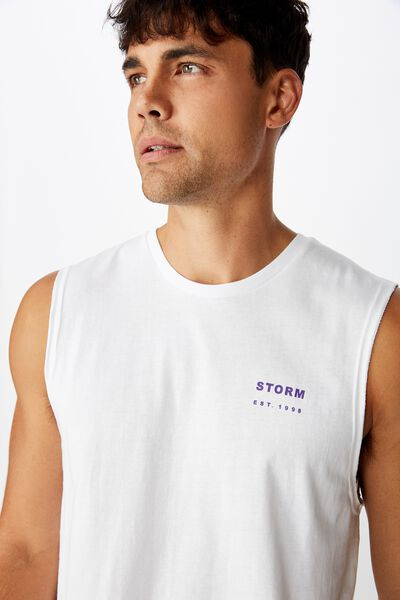 Nrl Mens Text Muscle Tank, STORM