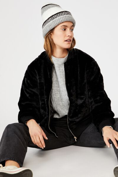 Afl Womens Fur Bomber Jacket, COLLINGWOOD