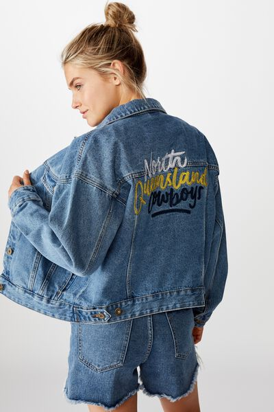 Nrl Womens Cropped Denim Jacket, COWBOYS