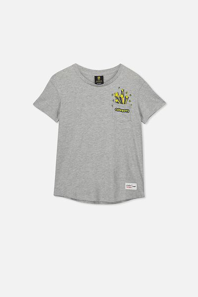 Nrl Kids Pocket Print Tee, COWBOYS