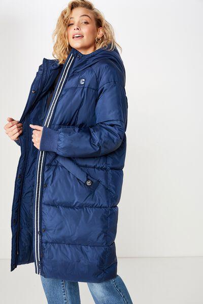 Afl Ladies Long Line Puffer Jacket, CARLTON