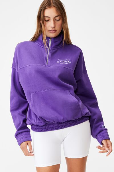Nrl Womens Fleece 1/4 Zip Jumper, STORM