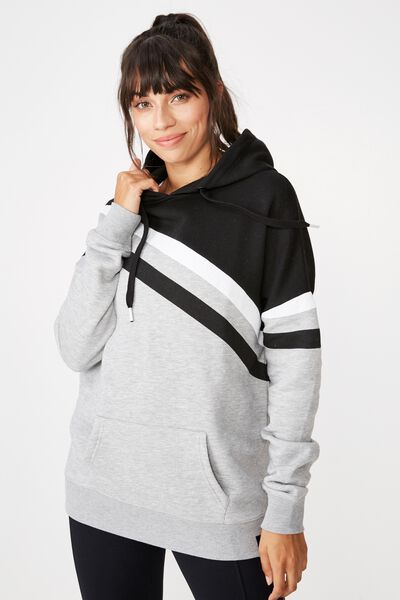 Afl Ladies Stripe Fleece Hoody, COLLINGWOOD