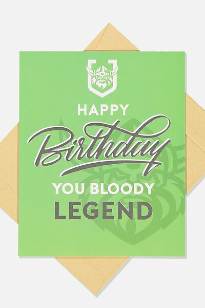 Nrl Legend Greeting Card, RAIDERS