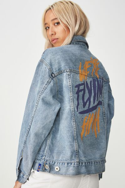 Afl Boyfriend Denim Jacket, WEST COAST EAGLES