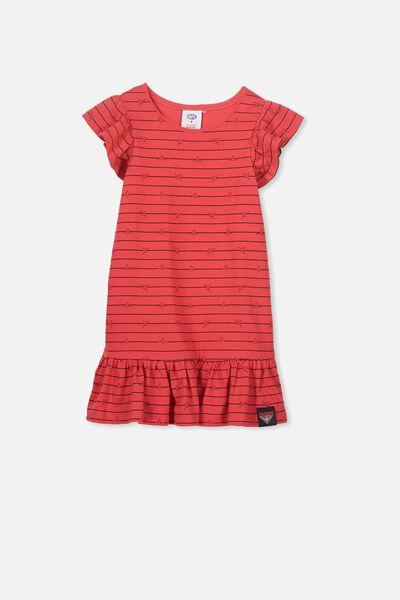 Afl Girls Frill Dress, ESSENDON