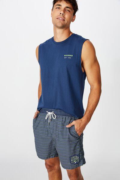 Nrl Mens Stripe Board Short, RAIDERS