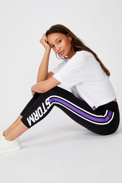 Nrl Womens Stripe Name 7-8 Tight, STORM
