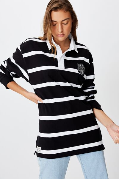 Afl Unisex Old School Rugby Polo, COLLINGWOOD