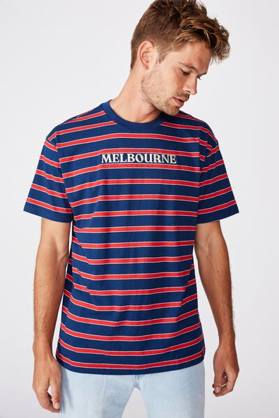 Afl Mens Stripe Logo T-Shirt, MELBOURNE