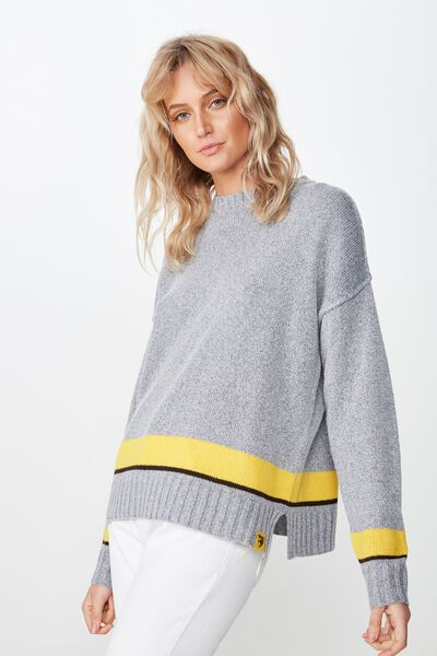 Afl Ladies Knitted Chopped Pullover, HAWTHORN