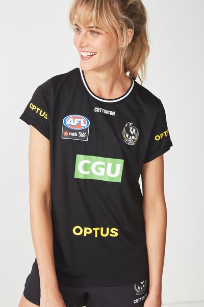Aflw 2019 Short Sleeve Warm Up Tee, COLLINGWOOD